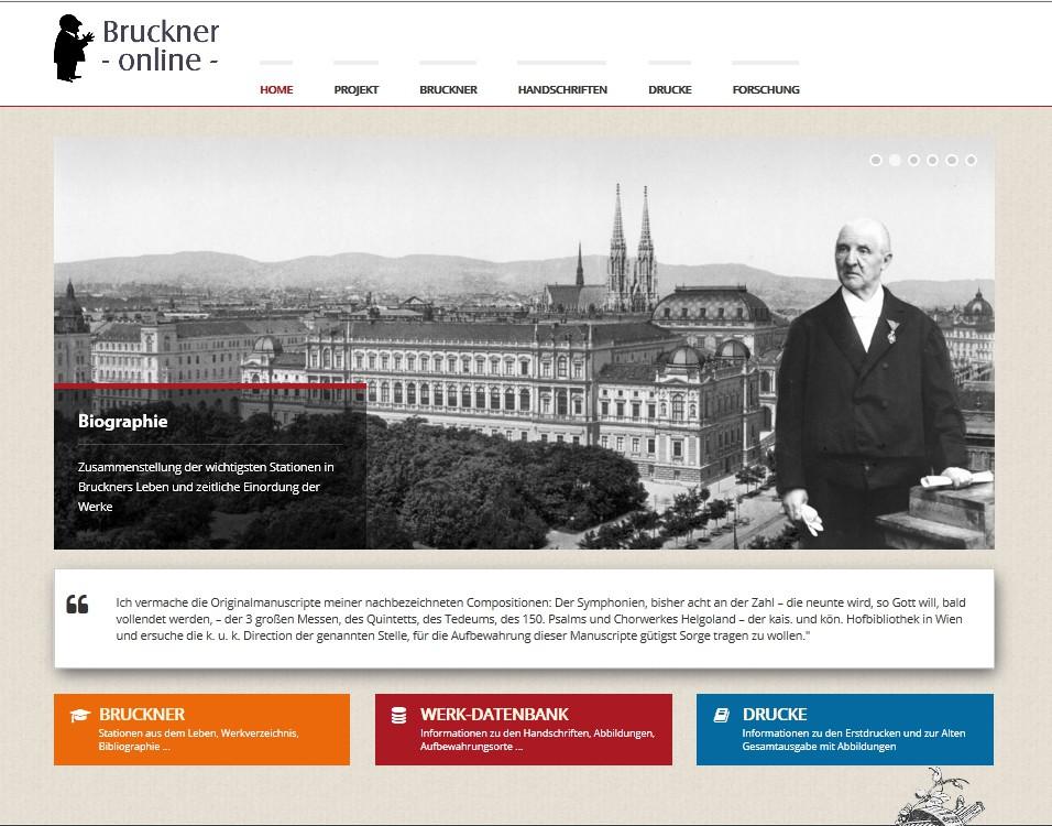 Homepage des neuen Bruckner-Archivs
