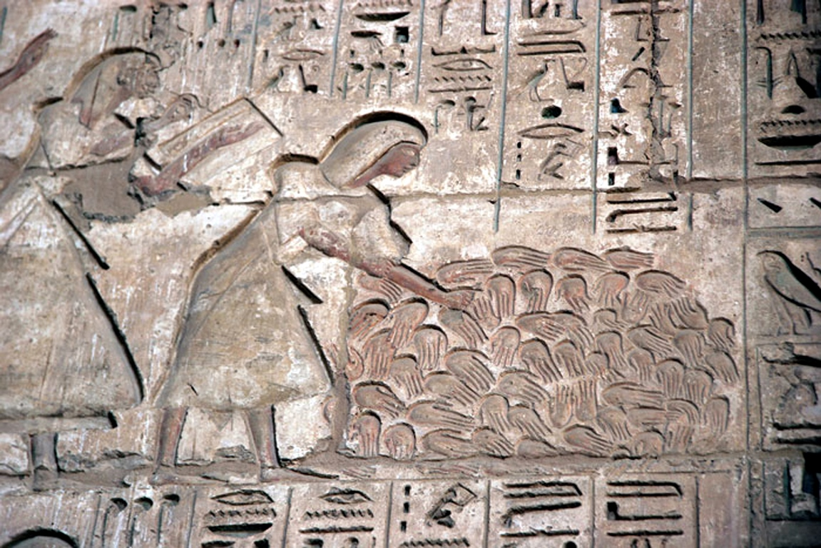 Counting hacked-off right hands. Representation of a battle of Ramses III, on a relief wall in Medinet Habu (ca. 1184-1153 BC)