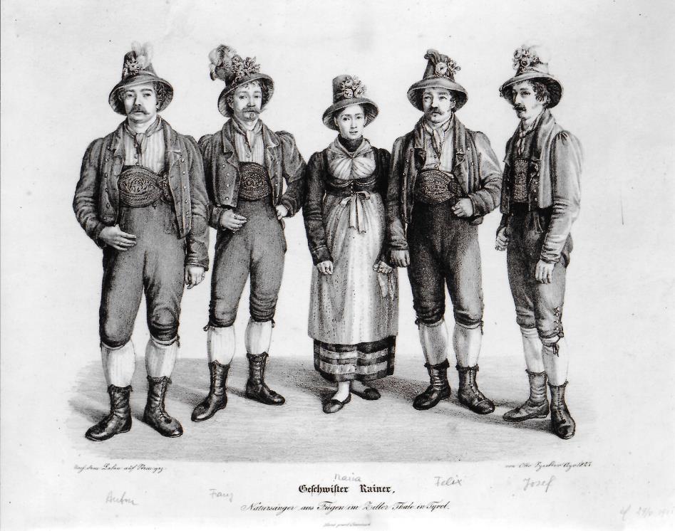 Otto Speckter: Die Geschwister Anton, Franz, Maria, Felix und Josef Rainer von Fügen (v.li.) Lithografie, 1827
