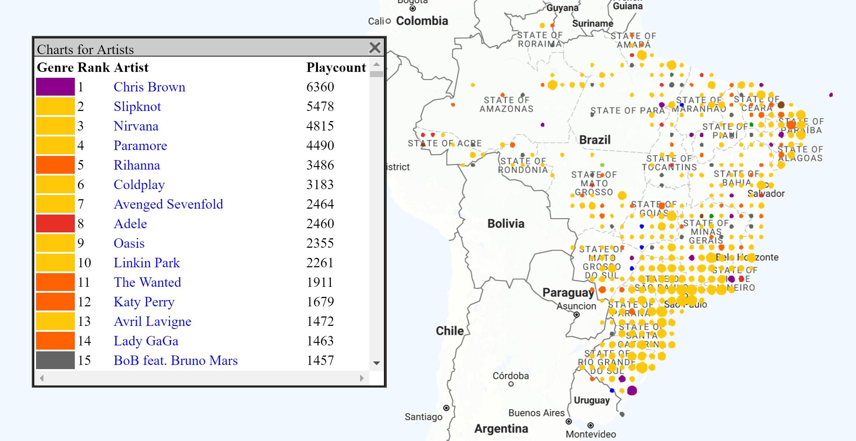 Eine Detailkarte der Hörvorlieben am Beispiel Brasilien.