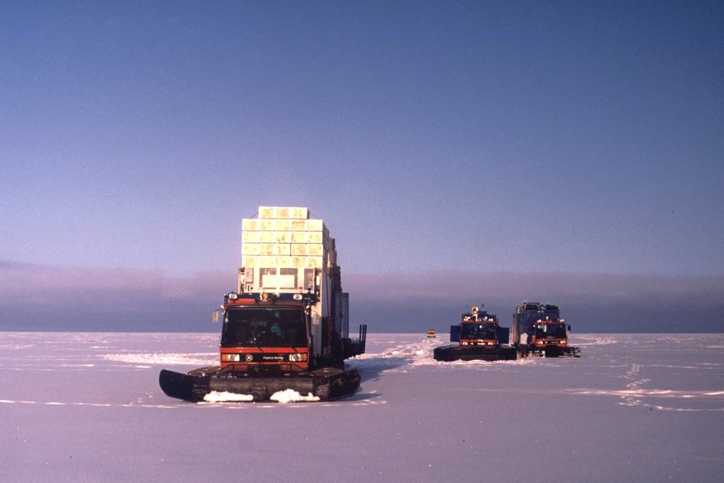 A traverse on the way to the drilling site of an intermediate core on the Filchner-Ronne- ice shelf, the second largest permanent ice shelf in Antarctica covering 449,000 sq. km.