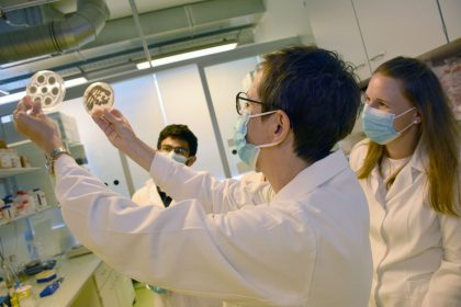 Microbiologist Florentine Marx-Ladurner and her team looking at fungal probes in their lab at Medical University of Innsbruck.