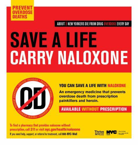 "Plakat mit der Botschaft: ""Safe a life – carry naloxone""."