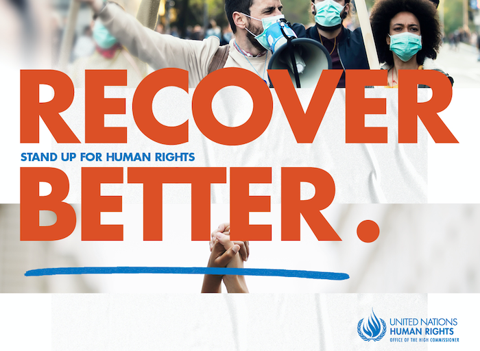 UN poster with the slogan: Recover Better - Stand up for human rights