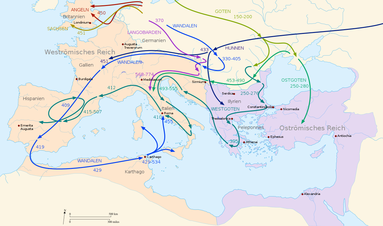 Map that shows migratory movements in the Roman Empire of the second to fifth centuries.