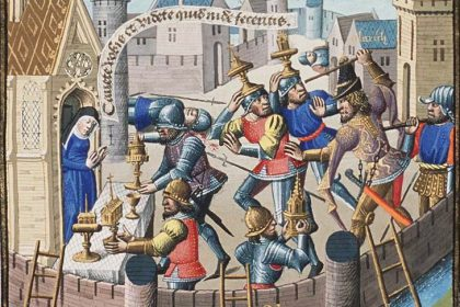 Illustration of the Sack of Rome by the Visigoths.