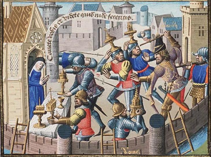 Während der Plünderung Roms 410 n. Chr. durch die Westgoten werden liturgische Gefäße in einer Kirche in Sicherheit gebracht.