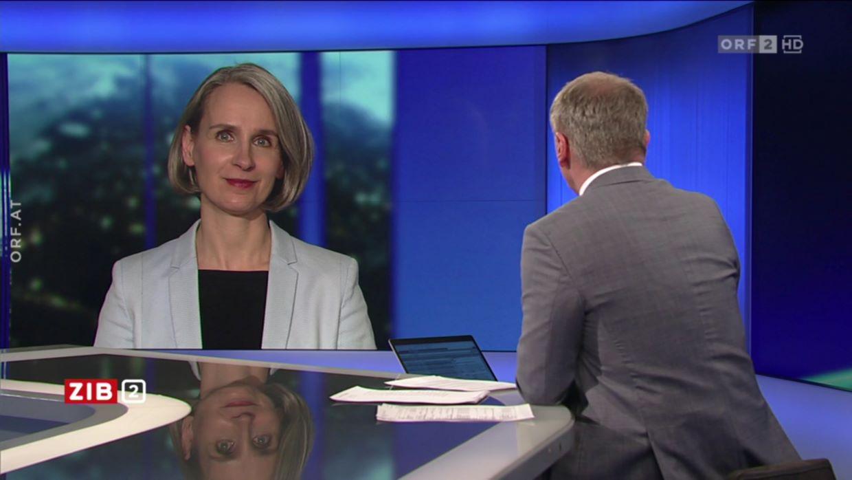 Die Soziologin Ulrike Zartler zu Gast bei Armin Wolf in der Nachrichtensendung ZIB2
