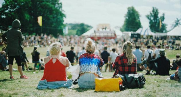 Publikum beieinem Open-Air Musik-Festival auf einer Wiese