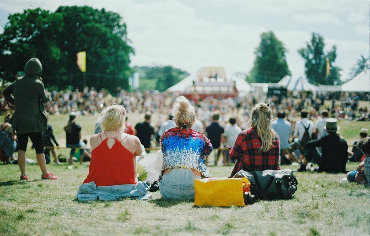 Publikum bei einem Open-Air Musik-Festival auf einer Wiese