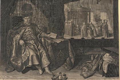 Porträt des Freiherrn Johann Rudolf Schmid zum Schwarzenhorn (1590–1667) mit osmanischer Szene.