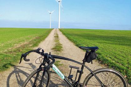 Wind turbines in the field.
